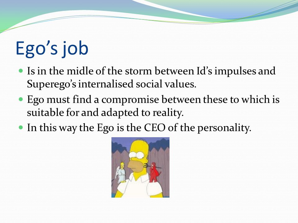Ego's job  Is in the midle of the storm between Id's impulses and Superego's internalised social values.