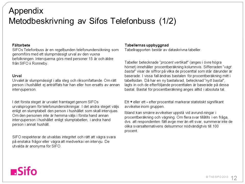 12 © TNS SIFO 2013 Fältarbete SIFOs Telefonbuss är en regelbunden telefonundersökning som genomförs med ett slumpmässigt urval av den vuxna befolkningen.
