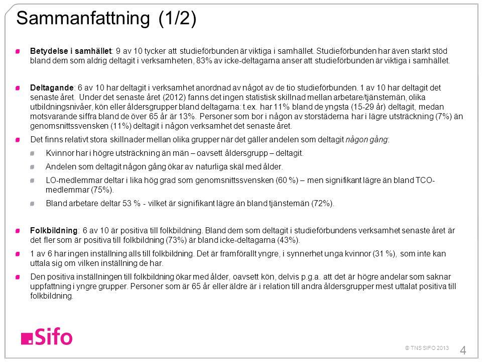 4 © TNS SIFO 2013 Sammanfattning (1/2) Betydelse i samhället: 9 av 10 tycker att studieförbunden är viktiga i samhället.