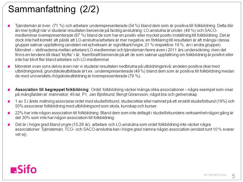 5 © TNS SIFO 2013 Sammanfattning (2/2) Tjänstemän är över- (71 %) och arbetare underrepresenterade (54 %) bland dem som är positiva till folkbildning.