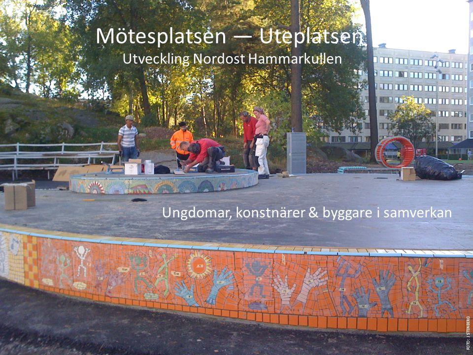 FOTO: J STENBERG Ungdomar, konstnärer & byggare i samverkan Mötesplatsen — Uteplatsen Utveckling Nordost Hammarkullen