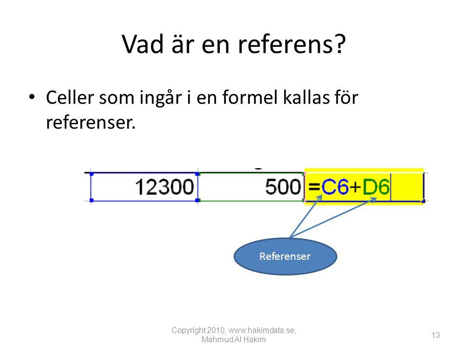 Vad är en referens.• Celler som ingår i en formel kallas för referenser.