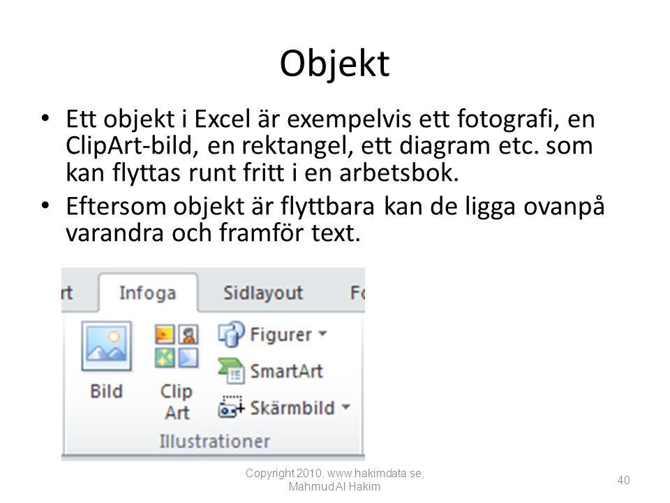 Objekt • Ett objekt i Excel är exempelvis ett fotografi, en ClipArt-bild, en rektangel, ett diagram etc.