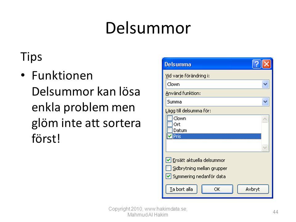 Delsummor Tips • Funktionen Delsummor kan lösa enkla problem men glöm inte att sortera först.