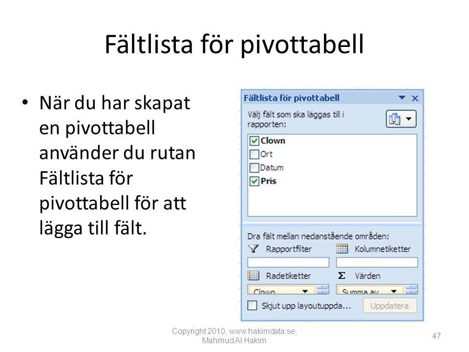 Fältlista för pivottabell • När du har skapat en pivottabell använder du rutan Fältlista för pivottabell för att lägga till fält.