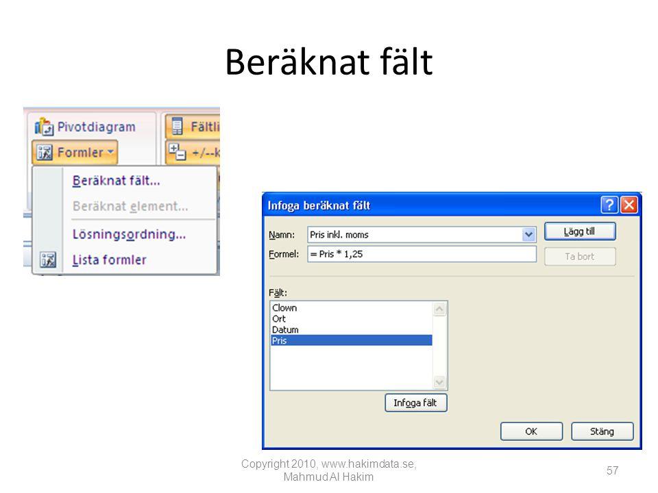 Beräknat fält Copyright 2010, www.hakimdata.se, Mahmud Al Hakim 57