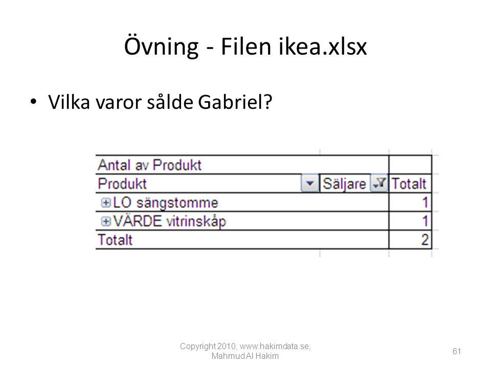Övning - Filen ikea.xlsx • Vilka varor sålde Gabriel.