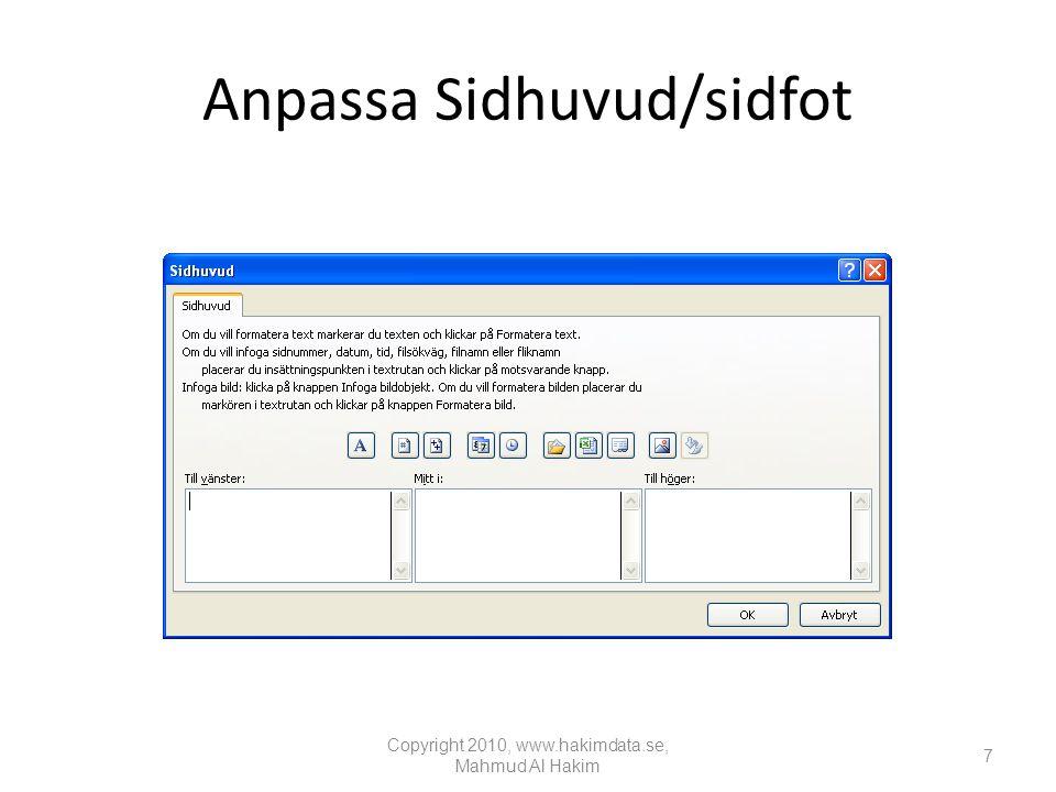 Infoga ett Pivotdiagram Copyright 2010, www.hakimdata.se, Mahmud Al Hakim 58