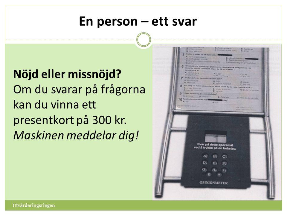 Utvärderingsringen Nöjd eller missnöjd? Om du svarar på frågorna kan du vinna ett presentkort på 300 kr. Maskinen meddelar dig!