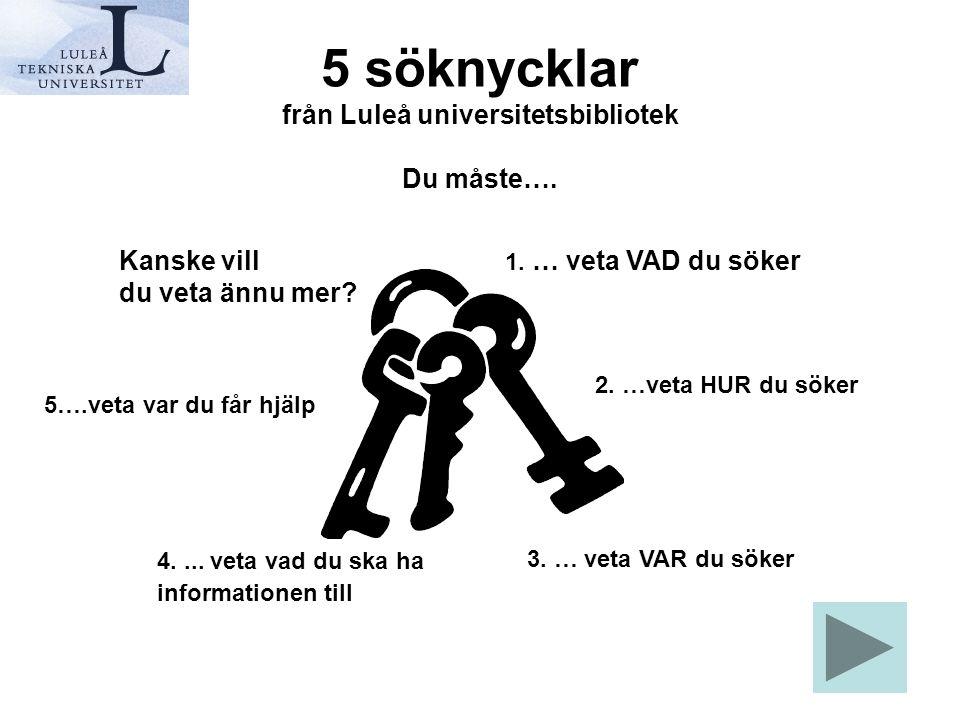 5 söknycklar från Luleå universitetsbibliotek Du måste…. 1. … veta VAD du söker 2. …veta HUR du söker 3. … veta VAR du söker 4.... veta vad du ska ha