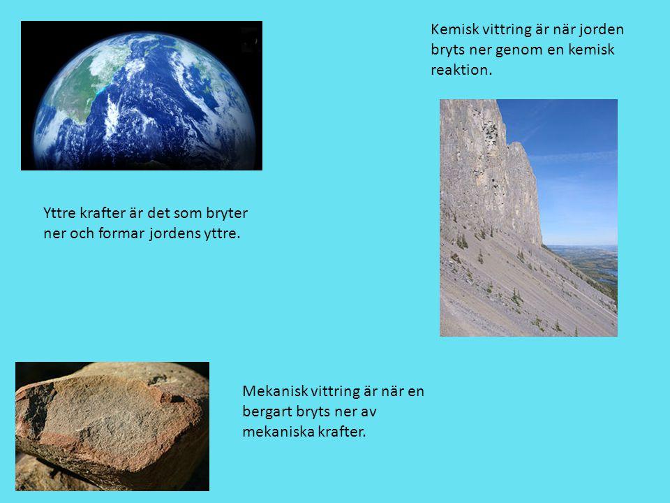Yttre krafter är det som bryter ner och formar jordens yttre. Kemisk vittring är när jorden bryts ner genom en kemisk reaktion. Mekanisk vittring är n