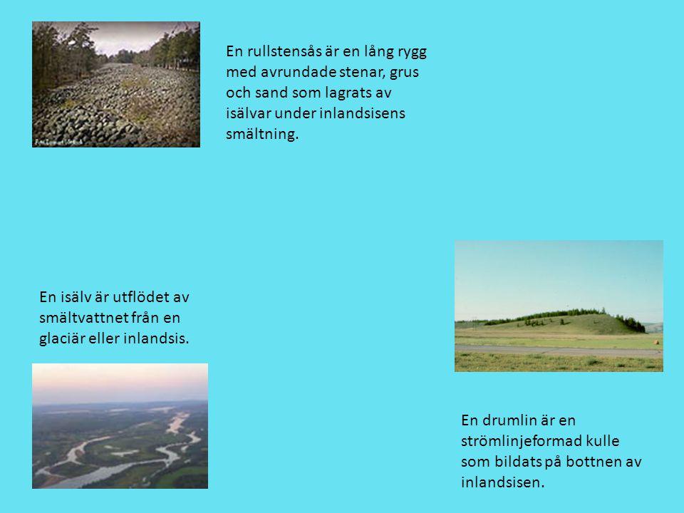En drumlin är en strömlinjeformad kulle som bildats på bottnen av inlandsisen. En rullstensås är en lång rygg med avrundade stenar, grus och sand som