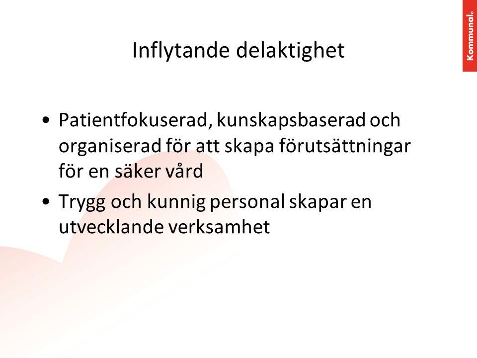 Inflytande delaktighet •Patientfokuserad, kunskapsbaserad och organiserad för att skapa förutsättningar för en säker vård •Trygg och kunnig personal s