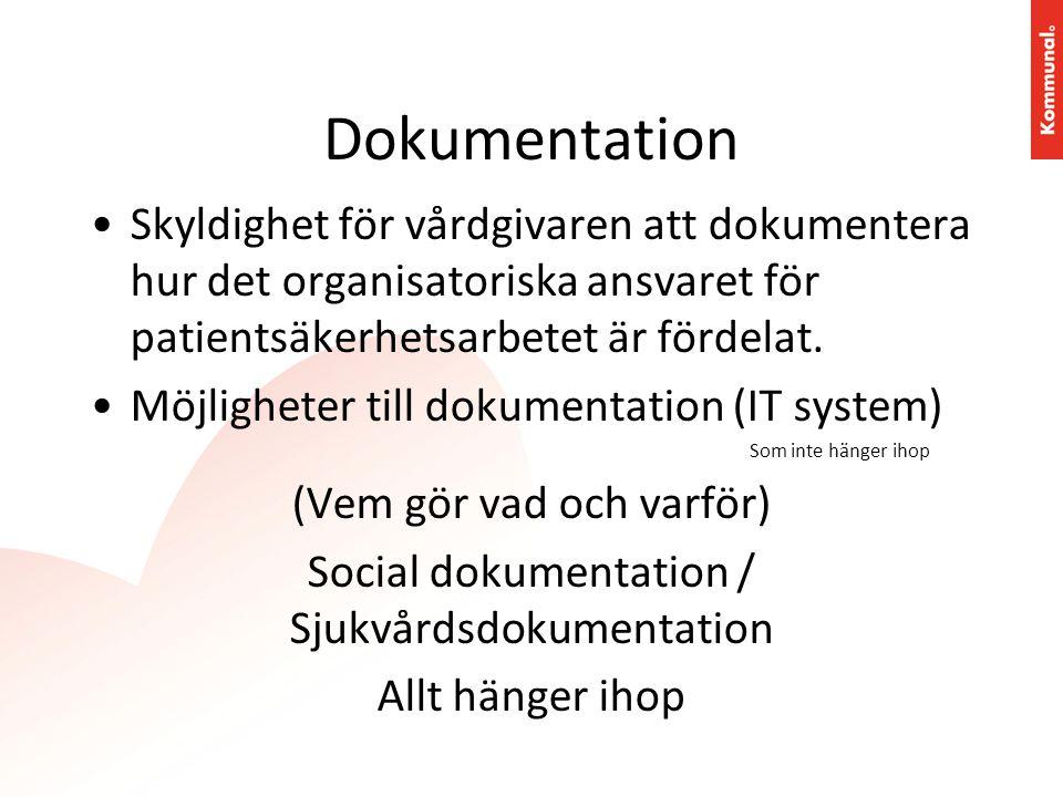 Dokumentation •Skyldighet för vårdgivaren att dokumentera hur det organisatoriska ansvaret för patientsäkerhetsarbetet är fördelat. •Möjligheter till