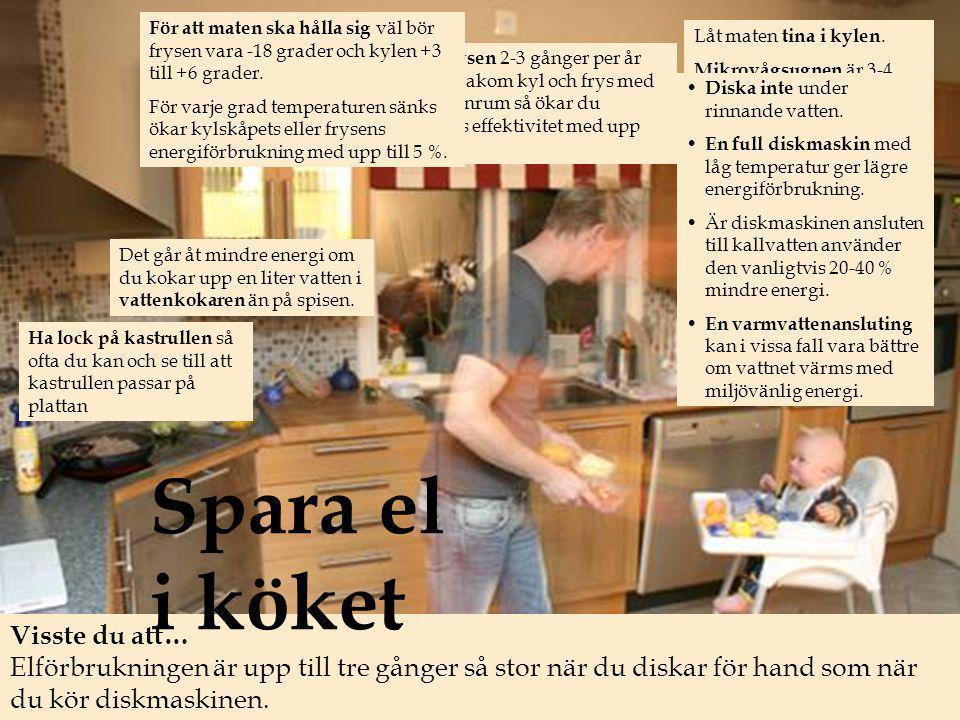 Ha lock på kastrullen så ofta du kan och se till att kastrullen passar på plattan Det går åt mindre energi om du kokar upp en liter vatten i vattenkokaren än på spisen.