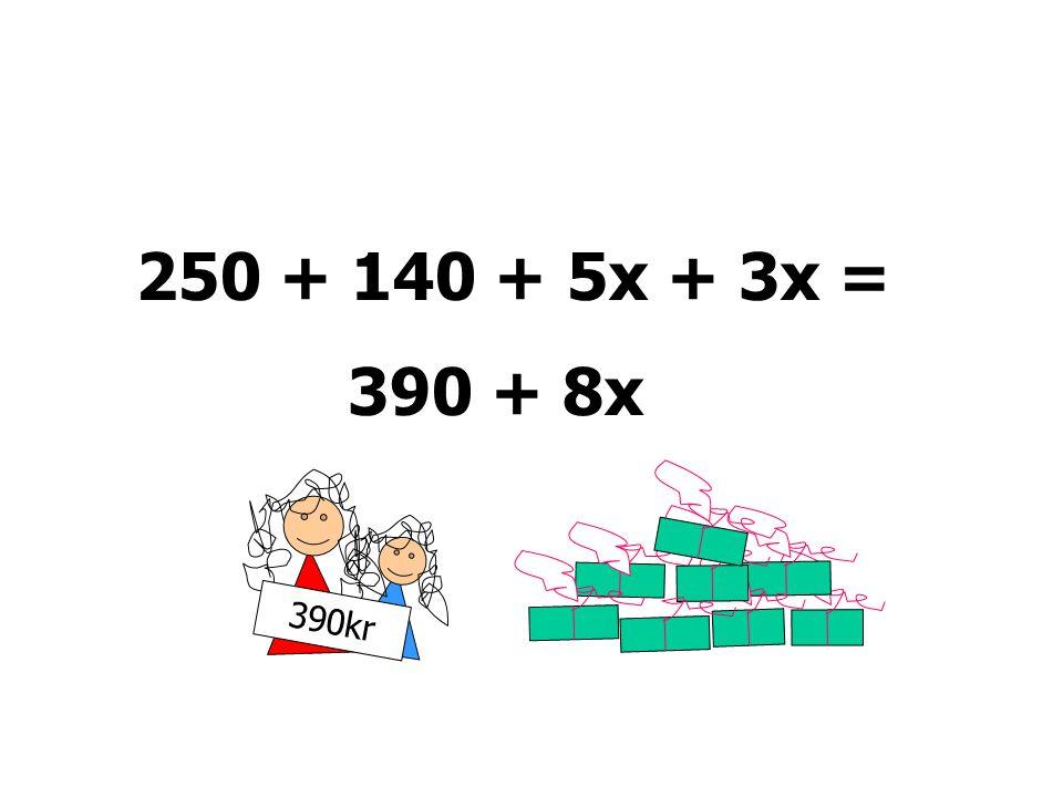 140KR 250 kr 250 + 5x + 140 + 3x = 250 + 140 + 5x + 3x