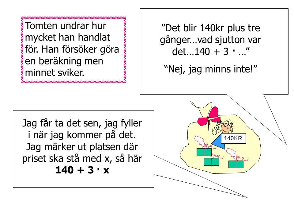 140KR Tomten har fyra klappar i säcken. I ett paket finns en docka för 140kr. Sen finns det tre likadana gröna paket med samma innehåll. Tyvärr har ha