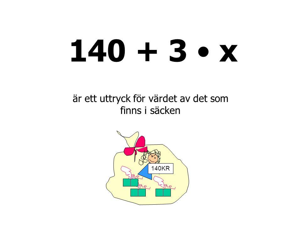 140 + 3 • x 140KR är ett uttryck för värdet av det som finns i säcken