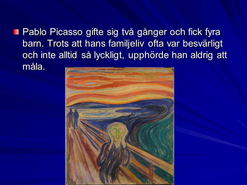Pablo Picasso gifte sig två gånger och fick fyra barn. Trots att hans familjeliv ofta var besvärligt och inte alltid så lyckligt, upphörde han aldrig