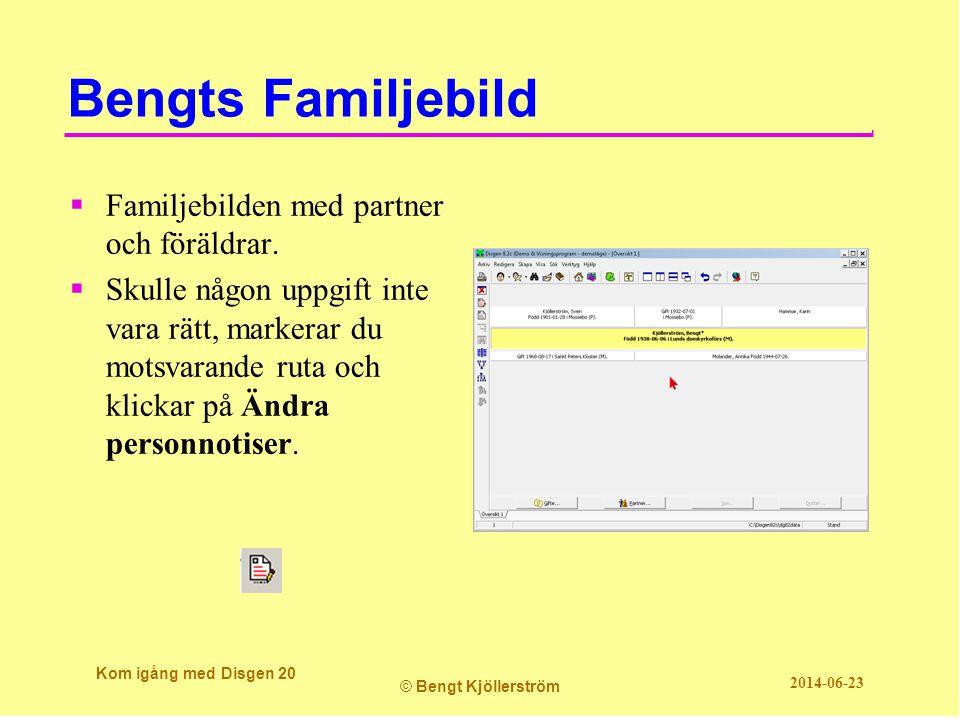 Bengts Familjebild Kom igång med Disgen 20 © Bengt Kjöllerström 2014-06-23  Familjebilden med partner och föräldrar.