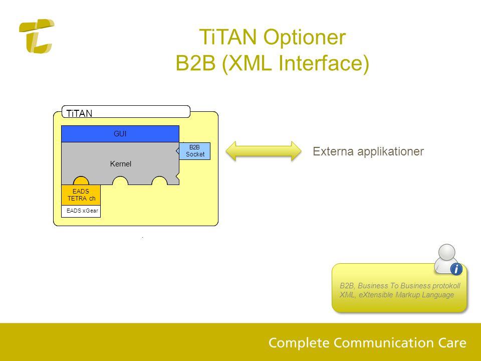 TiTAN Optioner B2B (XML Interface) B2B, Business To Business protokoll XML, eXtensible Markup Language. TiTAN GUI EADS- TETRA ch B2B Socket Kernel EAD