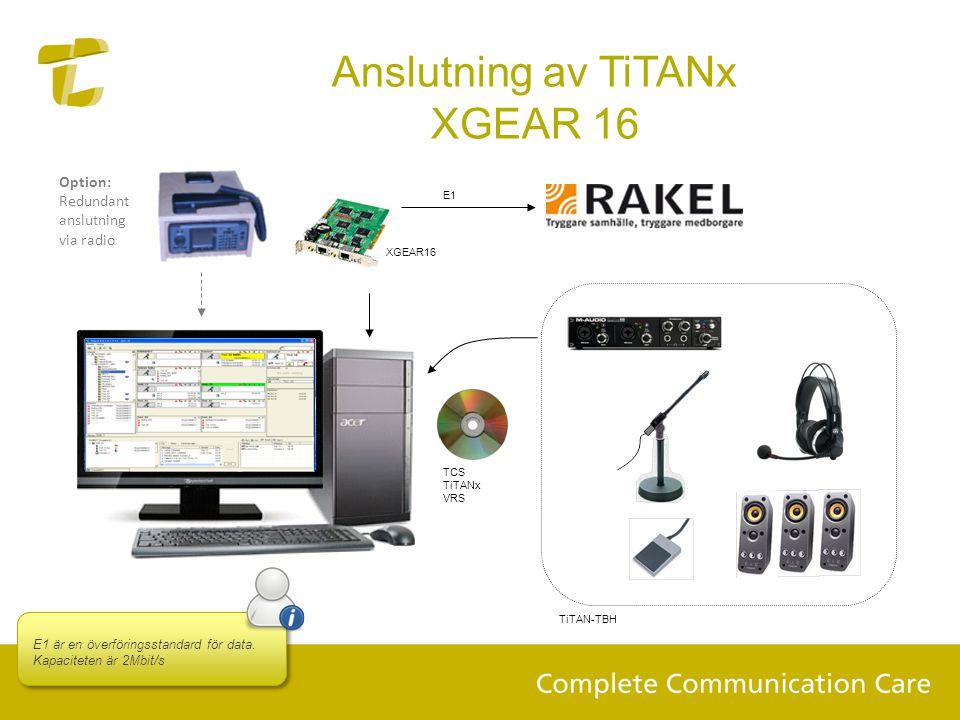 Anslutning av TiTANx XGEAR 16 TCS TiTANx VRS TiTAN-TBH XGEAR16 E1 E1 är en överföringsstandard för data. Kapaciteten är 2Mbit/s Option: Redundant ansl
