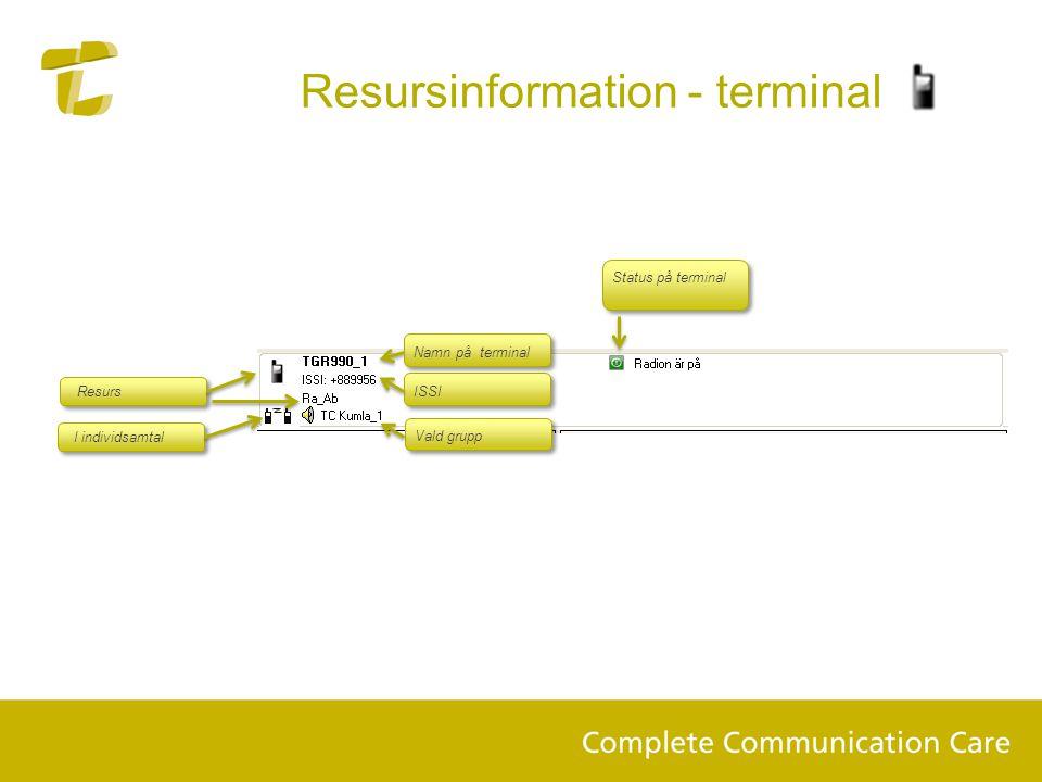 Resursinformation - terminal Status på terminal Namn på terminal Vald grupp Resurs ISSI I individsamtal