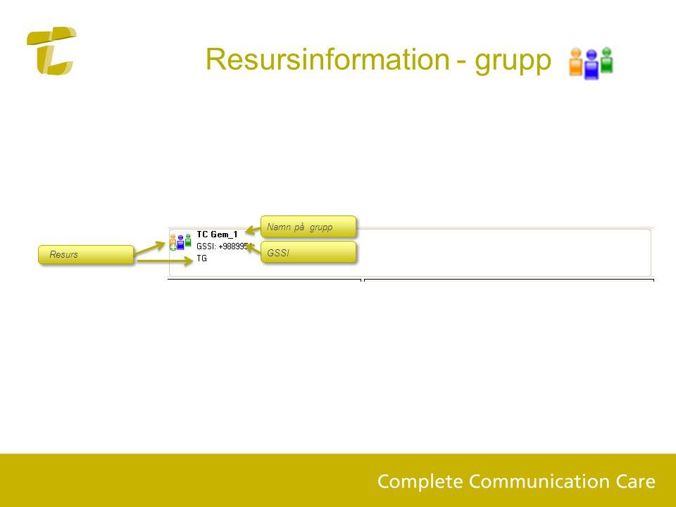 Resursinformation - grupp Resurs Namn på grupp GSSI