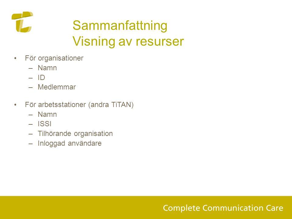 Sammanfattning Visning av resurser •För organisationer –Namn –ID –Medlemmar •För arbetsstationer (andra TiTAN) –Namn –ISSI –Tilhörande organisation –Inloggad användare