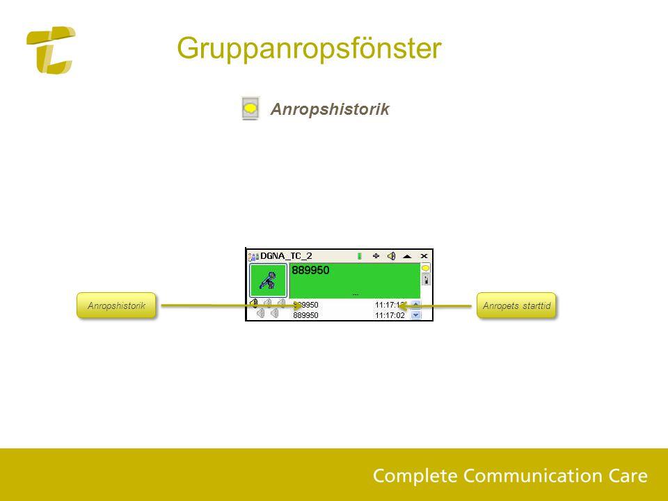 Anropshistorik Gruppanropsfönster Anropshistorik Anropets starttid