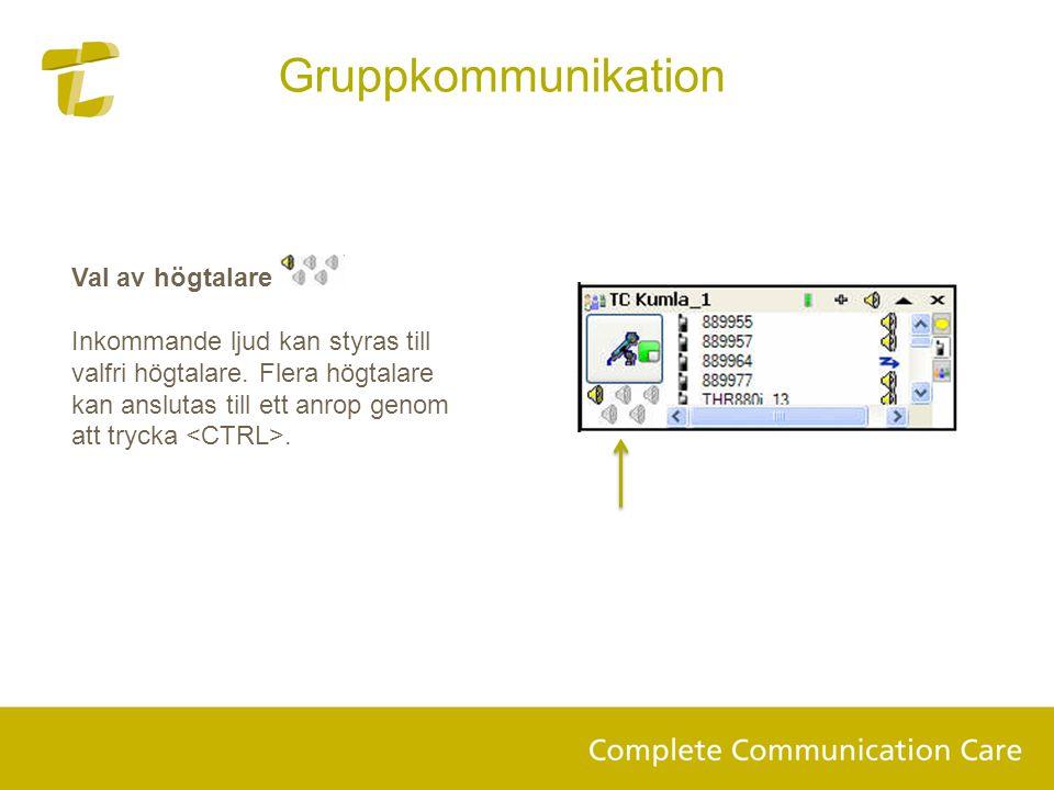 Val av högtalare Inkommande ljud kan styras till valfri högtalare. Flera högtalare kan anslutas till ett anrop genom att trycka. Gruppkommunikation