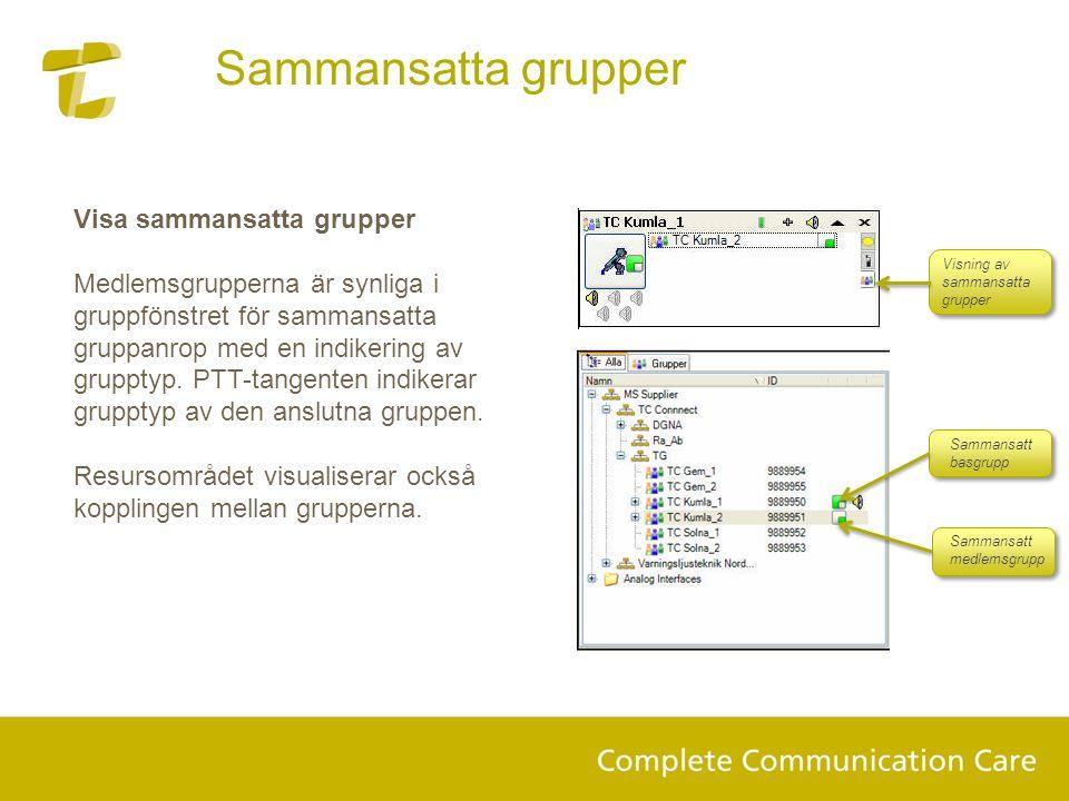 Visa sammansatta grupper Medlemsgrupperna är synliga i gruppfönstret för sammansatta gruppanrop med en indikering av grupptyp. PTT-tangenten indikerar
