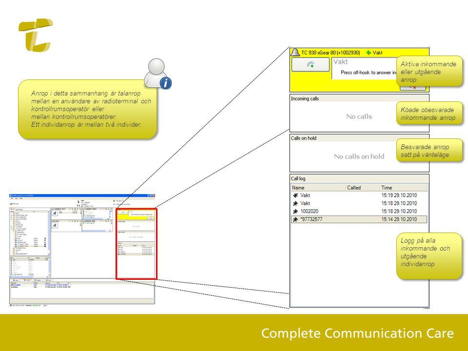 Anrop i detta sammanhang är talanrop mellan en användare av radioterminal och kontrollrumsoperatör eller mellan kontrollrumsoperatörer. Ett individanr