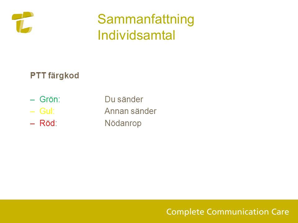 PTT färgkod –Grön: Du sänder –Gul:Annan sänder –Röd:Nödanrop Sammanfattning Individsamtal