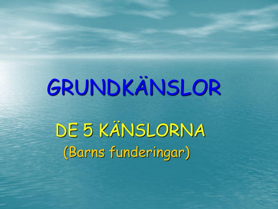 GRUNDKÄNSLOR GRUNDKÄNSLOR DE 5 KÄNSLORNA DE 5 KÄNSLORNA (Barns funderingar)