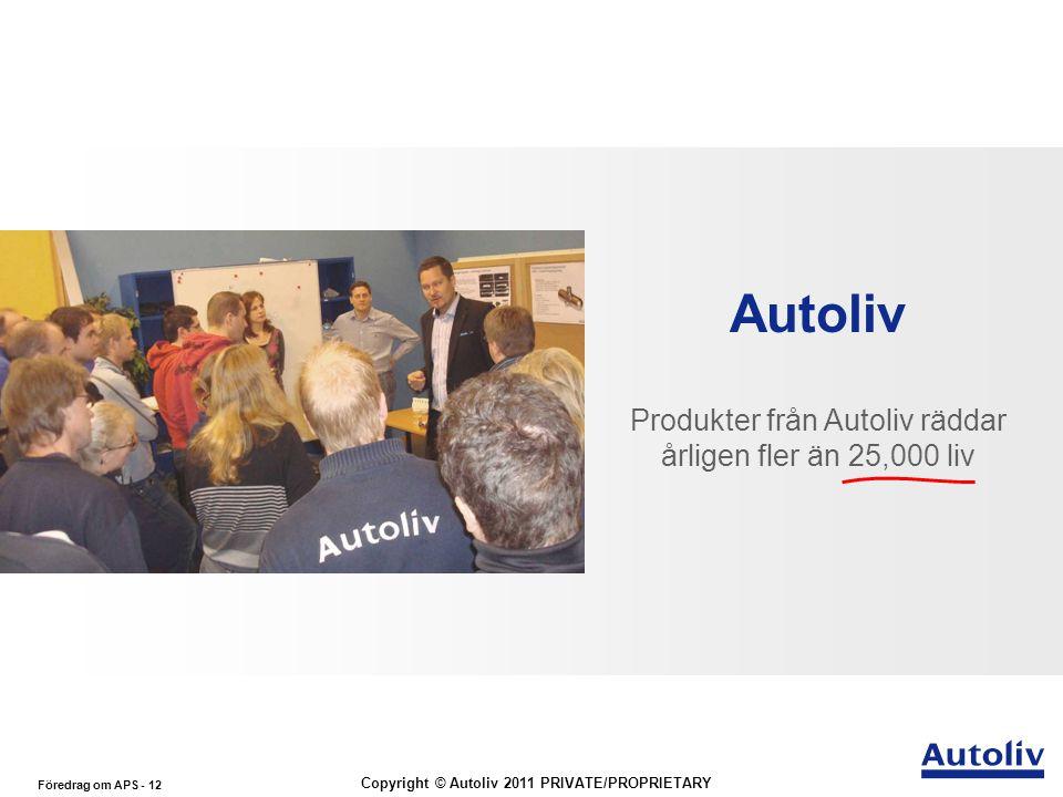 Föredrag om APS - 12 Copyright © Autoliv 2011 PRIVATE/PROPRIETARY Autoliv Produkter från Autoliv räddar årligen fler än 25,000 liv The Worldwide leade