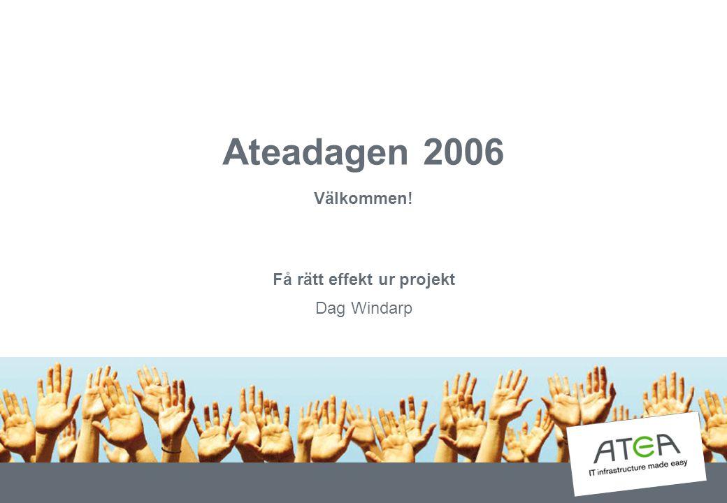 Ateadagen 2006 Välkommen! Få rätt effekt ur projekt Dag Windarp