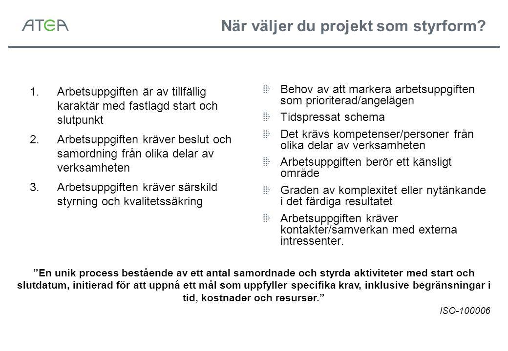 Projektstyrningens dimensioner Övergripande styrning av projektverksamheten Utförs av Projektkontor, Projektkontroller eller Ledningen Styrningen av ett projekt Utförs av Projektbeställare och Styrgrupp Styrningen inom ett projekt Utförs av Projektledaren