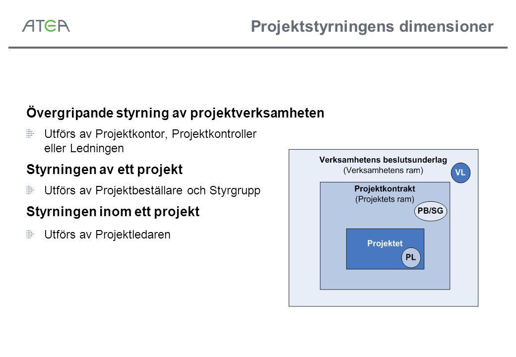 Projektstyrningens dimensioner Övergripande styrning av projektverksamheten Utförs av Projektkontor, Projektkontroller eller Ledningen Styrningen av e