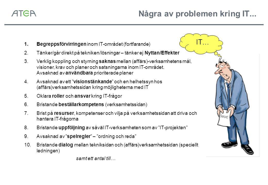 IT… 1.Begreppsförvirringen inom IT-området (fortfarande) 2.Tänker/går direkt på tekniken/lösningar – tänker ej Nyttan/Effekter 3.Verklig koppling och