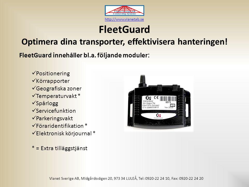 FleetGuard Optimera dina transporter, effektivisera hanteringen.