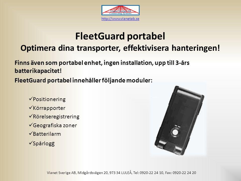 FleetGuard portabel Optimera dina transporter, effektivisera hanteringen.
