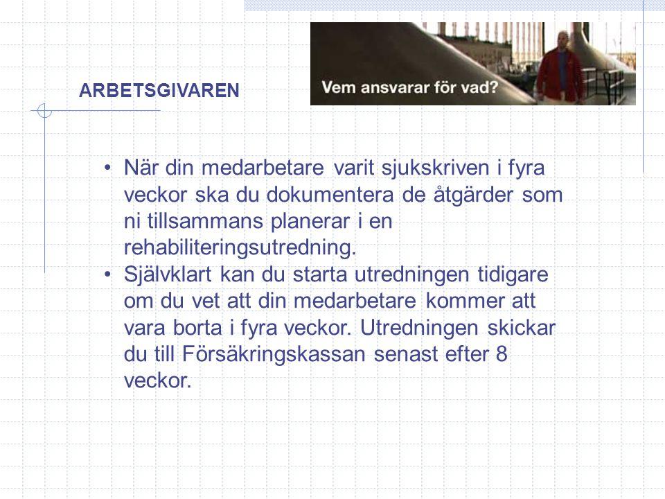 ARBETSGIVAREN •När din medarbetare varit sjukskriven i fyra veckor ska du dokumentera de åtgärder som ni tillsammans planerar i en rehabiliteringsutre