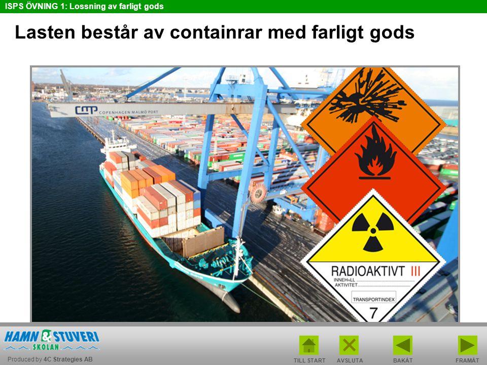 Produced by 4C Strategies AB ISPS ÖVNING 1: Lossning av farligt gods TILL STARTBAKÅT FRAMÅTAVSLUTA Lasten består av containrar med farligt gods