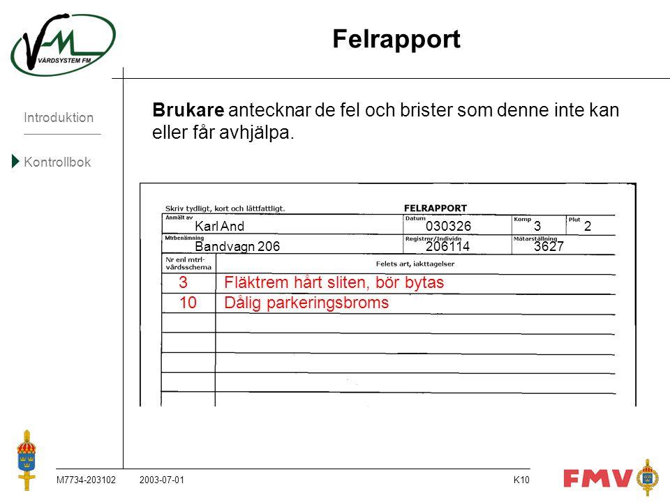 Introduktion Kontrollbok M7734-203102K10 Felrapport Brukare antecknar de fel och brister som denne inte kan eller får avhjälpa. Karl And03032632 Bandv