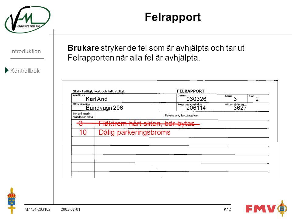 Introduktion Kontrollbok M7734-203102K12 Felrapport Brukare stryker de fel som är avhjälpta och tar ut Felrapporten när alla fel är avhjälpta. Karl An
