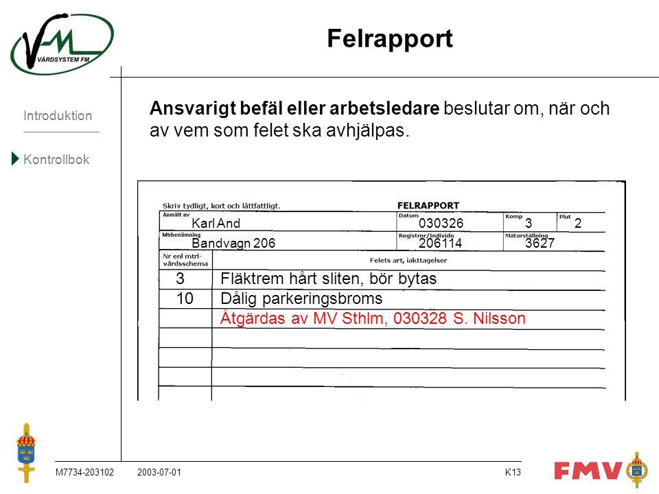 Introduktion Kontrollbok M7734-203102K13 Ansvarigt befäl eller arbetsledare beslutar om, när och av vem som felet ska avhjälpas. Karl And03032632 Band