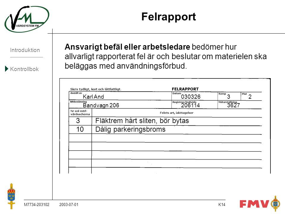 Introduktion Kontrollbok M7734-203102K14 Felrapport Ansvarigt befäl eller arbetsledare bedömer hur allvarligt rapporterat fel är och beslutar om mater