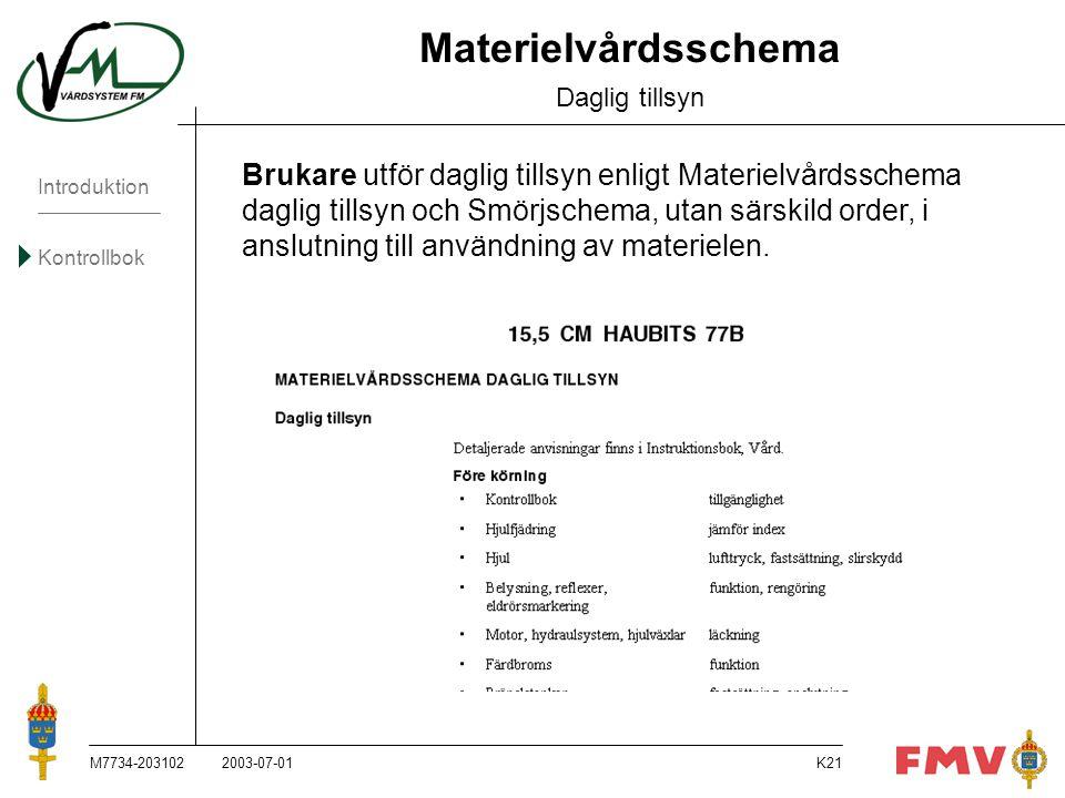 Introduktion Kontrollbok M7734-203102K21 Materielvårdsschema Daglig tillsyn Brukare utför daglig tillsyn enligt Materielvårdsschema daglig tillsyn och