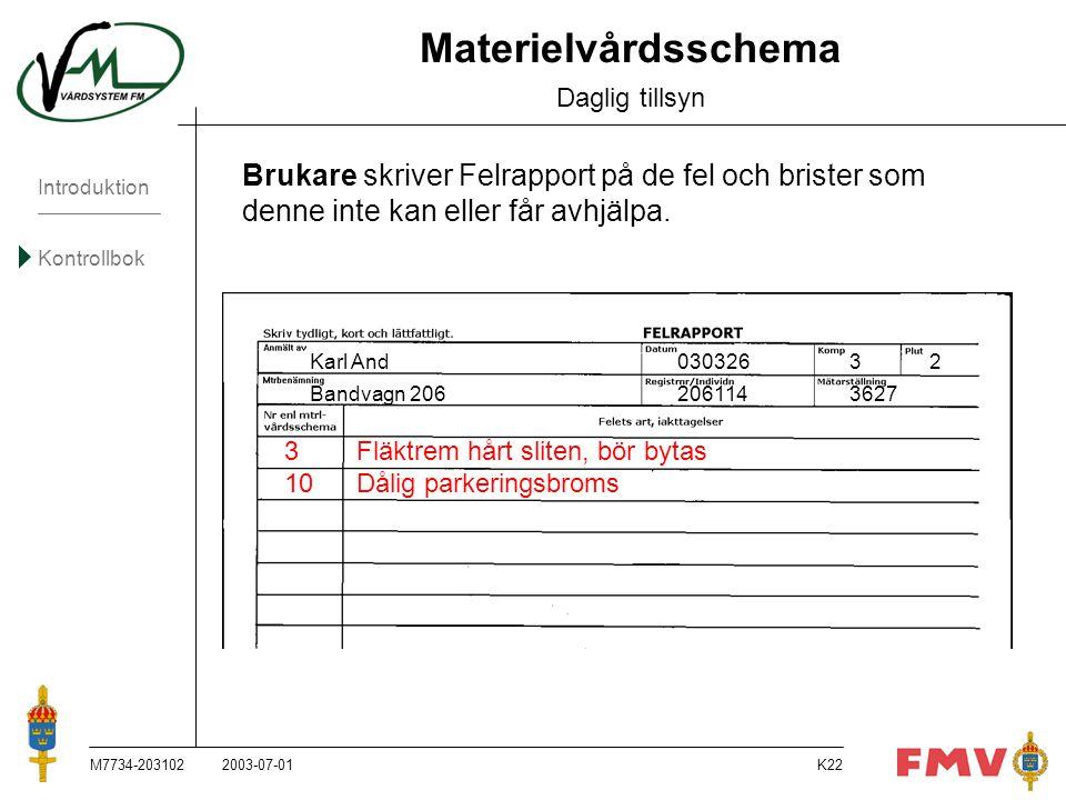 Introduktion Kontrollbok M7734-203102K22 Materielvårdsschema Daglig tillsyn Brukare skriver Felrapport på de fel och brister som denne inte kan eller